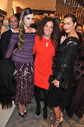 Left to right, AMBER LE BON, TARA SMITH and YASMIN LE BON at the Salvatore Ferragamo Old Bond Street Boutique Store Launch on 5th December 2012.