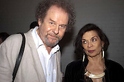 MIKE FIGGIS; BIANCA JAGGER, David Salle private view at the Maureen Paley Gallery. 21 Herlad St. London. E2. <br /> <br />  , -DO NOT ARCHIVE-&copy; Copyright Photograph by Dafydd Jones. 248 Clapham Rd. London SW9 0PZ. Tel 0207 820 0771. www.dafjones.com.