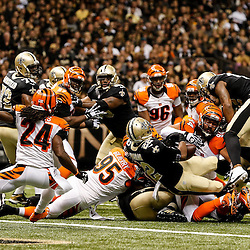 Nov 16, 2014; New Orleans, LA, USA; New Orleans Saints running back Mark Ingram (22) is stopped short of the goal line during the second quarter of a game against the Cincinnati Bengals at the Mercedes-Benz Superdome. Mandatory Credit: Derick E. Hingle-USA TODAY Sports