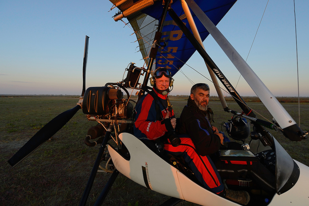 Staffan Widstrand and pilot Albert in the Ultralight trike/deltawing, Danube delta rewilding area, Romania