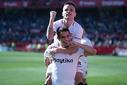 January 26, 2019 - Sevilla, Andalucia, Spain - Ben Yedder and Roque Mesa celebrate the 1st goal from Sevilla FC during the La Liga match between Sevilla FC v Levante UD at the Ramon Sanchez Pizjuan Stadium on January 26, 2019 in Sevilla, Spain  (Credit Image: © Javier MontañO/Pacific Press via ZUMA Wire)