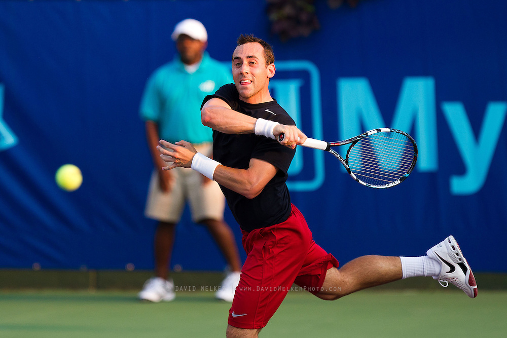 Bobby Reynolds of the Washington Kastles returns a ball during a match against the Springfield Lasers at Mediacom Stadium on July 11, 2012 in Springfield, Missouri. (David Welker/www.Turfimages.com).