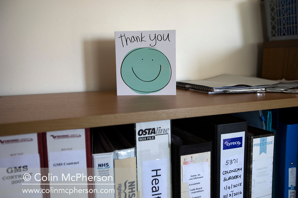 A thank you card from a patient the medical practice on the the Inner Hebridean island of Colonsay on Scotland's west coast.  The island is in the council area of Argyll and Bute and has an area of 4,074 hectares (15.7 sq mi). Aligned on a south-west to north-east axis, it measures 8 miles (13 km) in length and reaches 3 miles (4.8 km) at its widest point, in 2019 it had a permanent population of 136 adults and children.