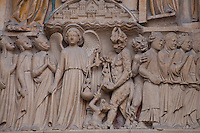 Frieze of Heaven and Hell at Notre Dame cathedral, Paris