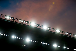 Colourful skies over the stadium floodlights as the sun comes down on the match - Mandatory byline: Rogan Thomson/JMP - 07966 386802 - 31/10/2015 - RUGBY UNION - Twickenham Stadium - London, England - New Zealand v Australia - Rugby World Cup 2015 FINAL.