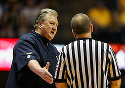Feb 26, 2018; Morgantown, WV, USA; West Virginia Mountaineers head coach Bob Huggins questions a call during the first half against the Texas Tech Red Raiders at WVU Coliseum. Mandatory Credit: Ben Queen-USA TODAY Sports