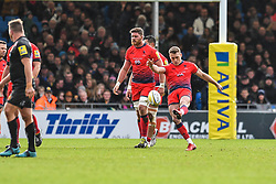 Jamie Shillcock of Worcester Warriors kicks to touch - Mandatory by-line: Craig Thomas/JMP - 10/02/2018 - RUGBY - Sandy Park Stadium - Exeter, England - Exeter Chiefs v Worcester Warriors - Aviva Premiership