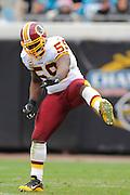 Washington Redskins linebacker London Fletcher (59) celebrates a sack during the Redskins 20-17 overtime win over the Jacksonville Jaguars at EverBank Field on Dec. 26, 2010 in Jacksonville, Fl. ©2010 Scott A. Miller
