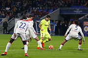 Luis Suárez of Barcelona and Terrier Martin of Lyon and Denayer Jason of Lyon during the UEFA Champions League, round of 16, 1st leg football match between Olympique Lyonnais and FC Barcelona on February 19, 2019 at Groupama stadium in Decines-Charpieu near Lyon, France - Photo Romain Biard / Isports / ProSportsImages / DPPI
