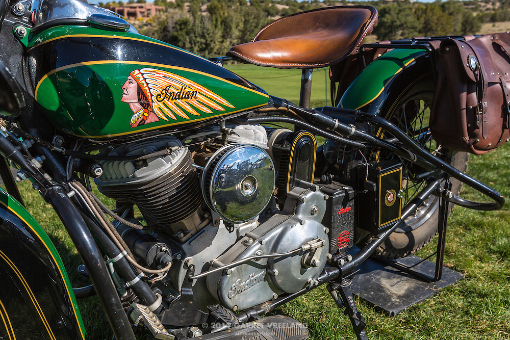 1939 Indian Chief details, at the 2012 Santa Fe Concorso.