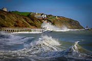 Large waves crash against the sea defense wall on Sunny Sands Beach, Folkestone, Kent, UK.  The tide is high covering all the beach and the sea is rough from stormy weather.  (photo by Andrew Aitchison / In pictures via Getty Images)