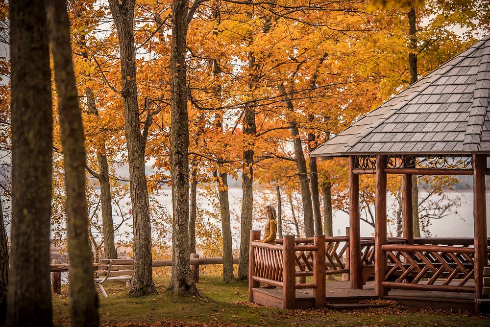 A gazebo on the Lake Superior lakeshore at Presque Isle Park in Marquette, Michigan.