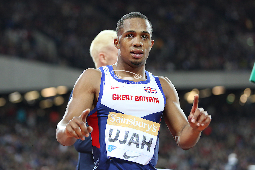 Chijindu Ujah of Great Britain after the 100m during the Sainsbury's Anniversary Games at the Queen Elizabeth II Olympic Park, London, United Kingdom on 24 July 2015. Photo by Phil Duncan.