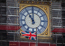 © Licensed to London News Pictures. 14/01/2020. London, UK. As Big Ben strikes 11 o'clock Prime Minister Boris Johnson has asked for a crowdfunding option to fund the cost of Big Ben bonging on Brexit Day after MPs decide that it will not bong for Brexit as the £500,000 bill for replacing the flooring is too high . Several MPs have asked for the bell to ring at 11pm on 31 January 2020 to mark the UK's departure from the EU. Photo credit: Alex Lentati/LNP