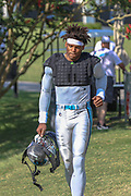 Carolina Panthers quarterback Cam Newton (1) as he enters the field on day two during training camp at Wofford College, Saturday, July 27, 2019, in Spartanburg, S.C. (Brian Villanueva/Image of Sport)