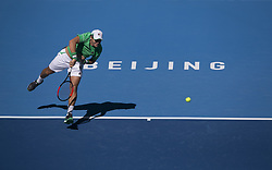 BEIJING, Oct. 3, 2018  Dusan Lajovic of Serbia serves during the men's singles second round match against Grigor Dimitrov of Bulgaria at China Open tennis tournament in Beijing, China, Oct. 3, 2018. Dusan Lajovic won 2-1. (Credit Image: © Song Yanhua/Xinhua via ZUMA Wire)