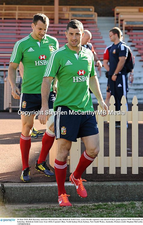 14 June 2013; Rob Kearney and Sam Warburton, left, British & Irish Lions, arrive for the captain's run ahead of their game against NSW Waratahs on Saturday. British & Irish Lions Tour 2013, Captain's Run, North Sydney Oval, Sydney, New South Wales, Australia. Picture credit: Stephen McCarthy / SPORTSFILE