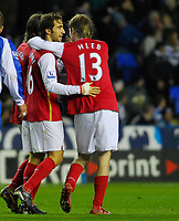 Photo: Leigh Quinnell/Sportsbeat Images.<br /> Reading v Arsenal. The FA Barclays Premiership. 12/11/2007. Arsenals Alex Hleb(R) congratulates Mathieu Flamini on his goal.