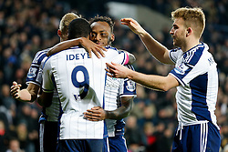 Brown Ideye of West Brom is hugged by Saido Berahino as he celebrates scoring a goal to make it 1-0 - Photo mandatory by-line: Rogan Thomson/JMP - 07966 386802 - 11/02/2015 - SPORT - FOOTBALL - West Bromwich, England - The Hawthorns - West Bromwich Albion v Swansea City - Barclays Premier League.