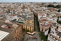 The view from the tower of the Seville Cathedral looks over the city below.