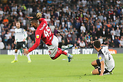 Bristol City midfielder Kasey Palmer (45) is fouled by Derby County forward Mason Bennett (20) during the EFL Sky Bet Championship match between Derby County and Bristol City at the Pride Park, Derby, England on 20 August 2019.