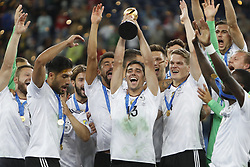 July 3, 2017 - Saint Petersburg, Russia - Lars Stindl of Germany national team lifts up the trophy as Germany national team players celebrate during award ceremony after FIFA Confederations Cup Russia 2017 final match between Chile and Germany at Saint Petersburg Stadium on July 2, 2017 in Saint Petersburg, Russia. (Credit Image: © Mike Kireev/NurPhoto via ZUMA Press)