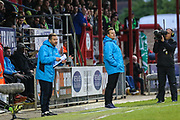 Forest Green Rovers manager, Mark Cooper watches from the technical area during the Vanarama National League first leg play off match between Dagenham and Redbridge and Forest Green Rovers at the London Borough of Barking and Dagenham Stadium, London, England on 4 May 2017. Photo by Shane Healey.