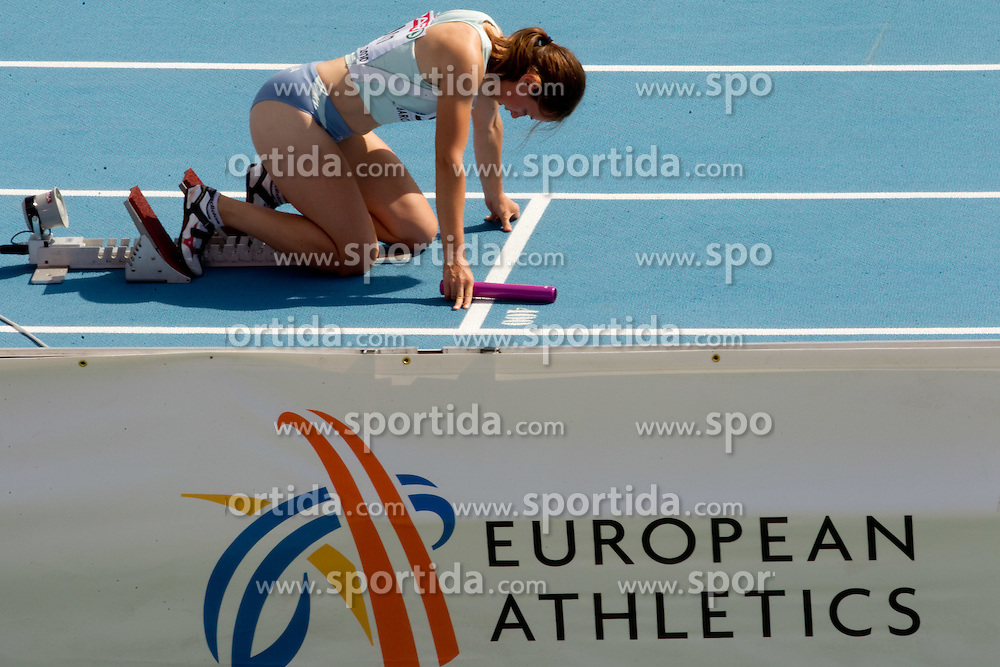Tina Murn of Slovenia competes during  the 4x100m Womens Relay Heats during day five of the 20th European Athletics Championships at the Olympic Stadium on July 31, 2010 in Barcelona, Spain.  (Photo by Vid Ponikvar / Sportida)