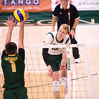 Action during the Men's Volleyball home game on November 3 at Centre for Kinesiology, Health and Sport. Credit: Casey Marshall/Arthur Images