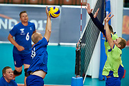 Katowice, Poland - 2017 September 03:(L) Partner  Jukka Lehti from SO Finland spikes the ball while final match between SO Russia and SO Finland during European Unified Volleyball Tournament 2017 at Spodek Hall on September 03, 2017 in Katowice, Poland.<br /> <br /> Adam Nurkiewicz declares that he has no rights to the image of people at the photographs of his authorship.<br /> <br /> Picture also available in RAW (NEF) or TIFF format on special request.<br /> <br /> Any editorial, commercial or promotional use requires written permission from the author of image.<br /> <br /> Image can be used in the press when the method of use and the signature does not hurt people on the picture.<br /> <br /> Mandatory credit:<br /> Photo by © Adam Nurkiewicz / Mediasport