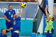 Katowice, Poland - 2017 September 03:(L) Partner  Jukka Lehti from SO Finland spikes the ball while final match between SO Russia and SO Finland during European Unified Volleyball Tournament 2017 at Spodek Hall on September 03, 2017 in Katowice, Poland.<br /> <br /> Adam Nurkiewicz declares that he has no rights to the image of people at the photographs of his authorship.<br /> <br /> Picture also available in RAW (NEF) or TIFF format on special request.<br /> <br /> Any editorial, commercial or promotional use requires written permission from the author of image.<br /> <br /> Image can be used in the press when the method of use and the signature does not hurt people on the picture.<br /> <br /> Mandatory credit:<br /> Photo by &copy; Adam Nurkiewicz / Mediasport