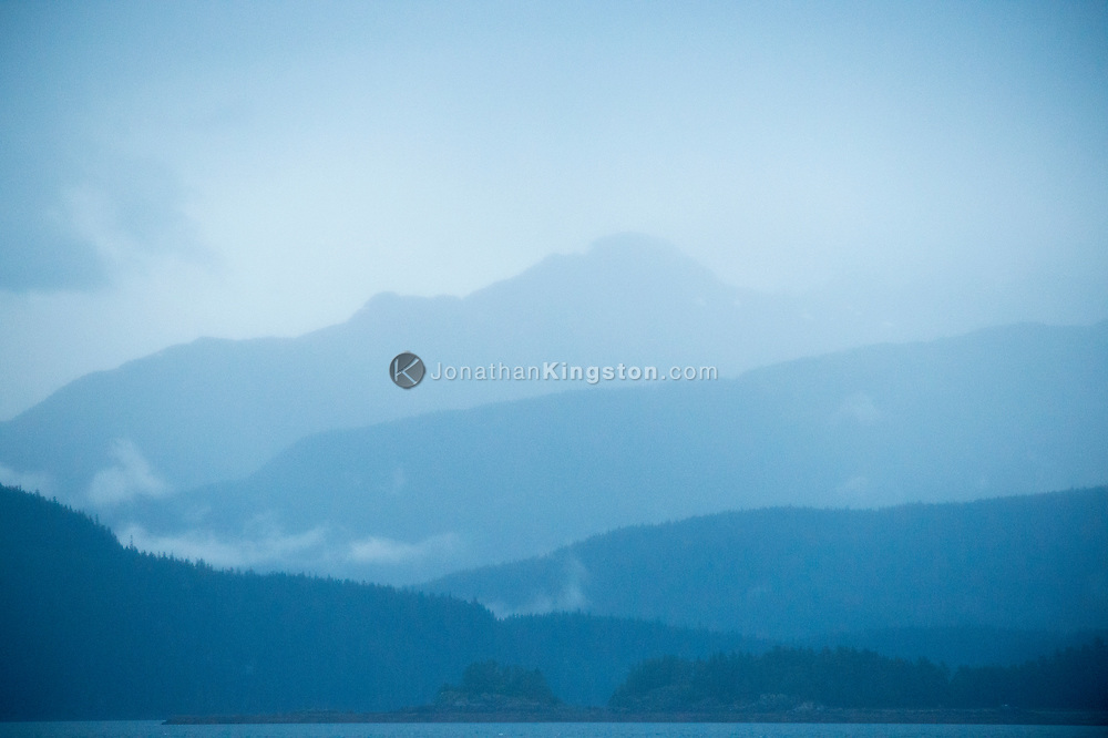 Fog and rain covered mountains near Juneau, Alaska.
