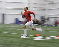 Randall Mackey runs the 40 yard dash at Ole Miss Pro Day at the Indoor Practice Facility in Oxford, Miss. on Thursday, March 7, 2013.