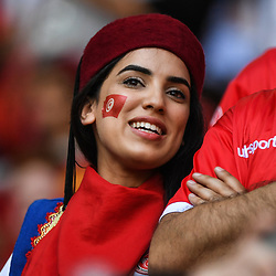 A fan of Tunisia during the FIFA World Cup Group G match between Belgium and Tunisia at Spartak Stadium on June 23, 2018 in Moscow, Russia. (Photo by Anthony Dibon/Icon Sport)