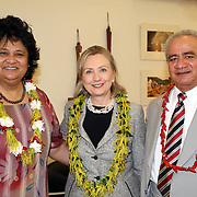 First Lady Maryann Tulafono, US Secretary of State Hillary Clinton, and the Honorable Governor Togiola Tulafono gather after a traditional welcoming kava ceremony at Tafuna International Airport. Photo by Barry Markowitz, 11/8/10, 1am