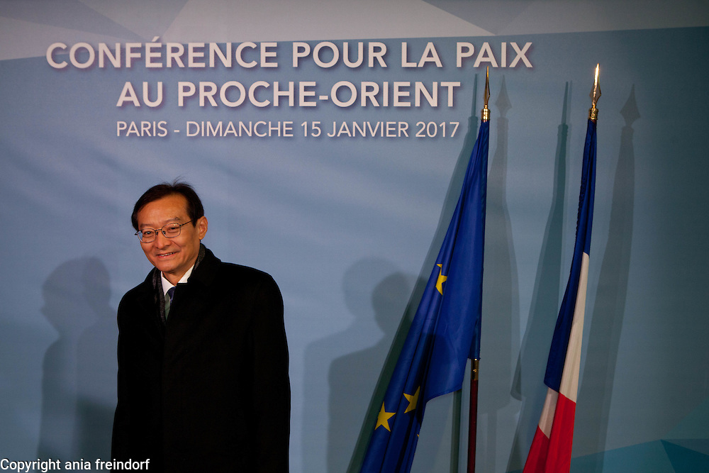 Middle East Peace Conference, Paris, France. International summit. 7O countries have participated in the summit. China, Ming Zhang, vice-minister of Foreign Affairs
