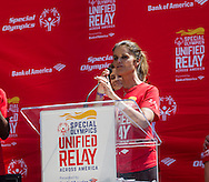 Former California first lady Maria Shriver speaks as torch bearers carrying the torch arrive in downtown Los Angeles, where a cauldron will be lit two weeks ahead of the Special Olympics World Games' opening ceremony, on Tuesday, July 10, 2015. The Special Olympics Flame of Hope, which has been carried in a torch relay across the United States by thousands of runners on three routes, arrived in downtown Los Angeles,  The Special Olympics Flame of Hope officially arrived in Los Angeles after having traveled 46 days and over 20,500 miles as part of the first-ever Special Olympics Unified Relay Across America. The Unified Relay began its journey as three simultaneous routes in Augusta, Maine, Washington, D.C. and Miami, Florida on 26 May and has traveled west, visiting all 50 states, to deliver the Flame of Hope to Los Angeles in anticipation of the 2015 Special Olympics World Games starting on 25 July.(Photo by Ringo Chiu/PHOTOFORMULA.com)