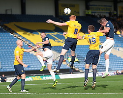 Oxford United's Dave Kitson heads clear - Photo mandatory by-line: Nigel Pitts-Drake/JMP - Tel: Mobile: 07966 386802 05/10/2013 - SPORT - FOOTBALL - Kassam Stadium - Oxford - Oxford United v Southend United - Sky Bet League 2
