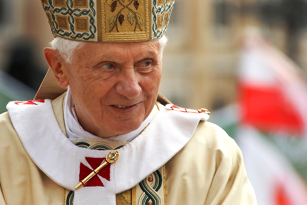 ROME- MAY 2011 : Pope Benedict XVI greets the faithful in Saint Peters Square on the occasion of the Beatification of Pope John Paul II on May 1, 2011 in Vatican City, Rome.