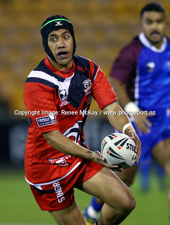 Carlos Hotene of Counties looks to pass at the NZRL national premiership match between Akarana Falcons vs Counties Manukau Stingrays, at Mt Smart stadium, Auckland, 16 September 2016. Copyright Image: Renee McKay / www.photosport.nz
