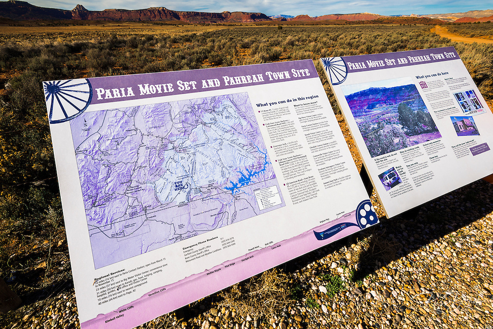 Interpretive display at the Paria movie set and Pahreah town site, Grand Staircase-Escalante National Monument, Utah USA