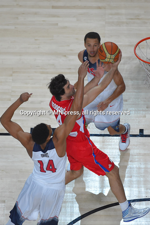 TEODOSIC of Serbia basketball team in action during Final FIBA World cup match against MILOS TEODOSIC of Serbia, Madrid, Spain Photo: MN PRESS PHOTO<br /> Basketball, Serbia, United states of America, Final, FIBA World cup Spain 2014