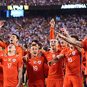 EAST RUTHERFORD, NEW JERSEY - JUNE 26:  Chile players celebrate their victory after the penalty shoot out during the Argentina Vs Chile Final match of the Copa America Centenario USA 2016 Tournament at MetLife Stadium on June 26, 2016 in East Rutherford, New Jersey. (Photo by Tim Clayton/Corbis via Getty Images)
