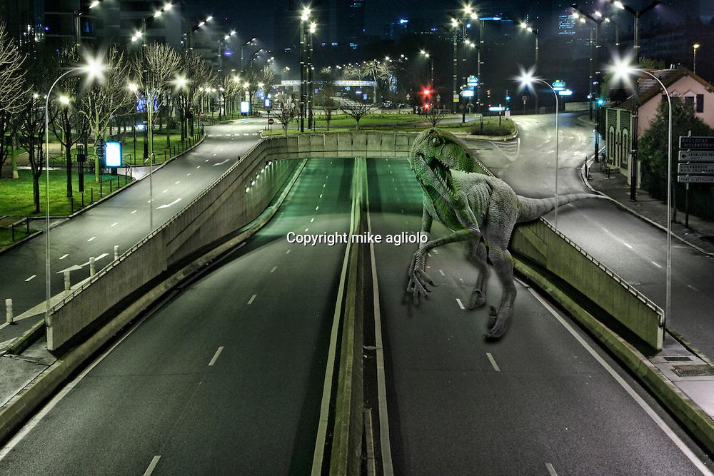 dinosaur  on freeway