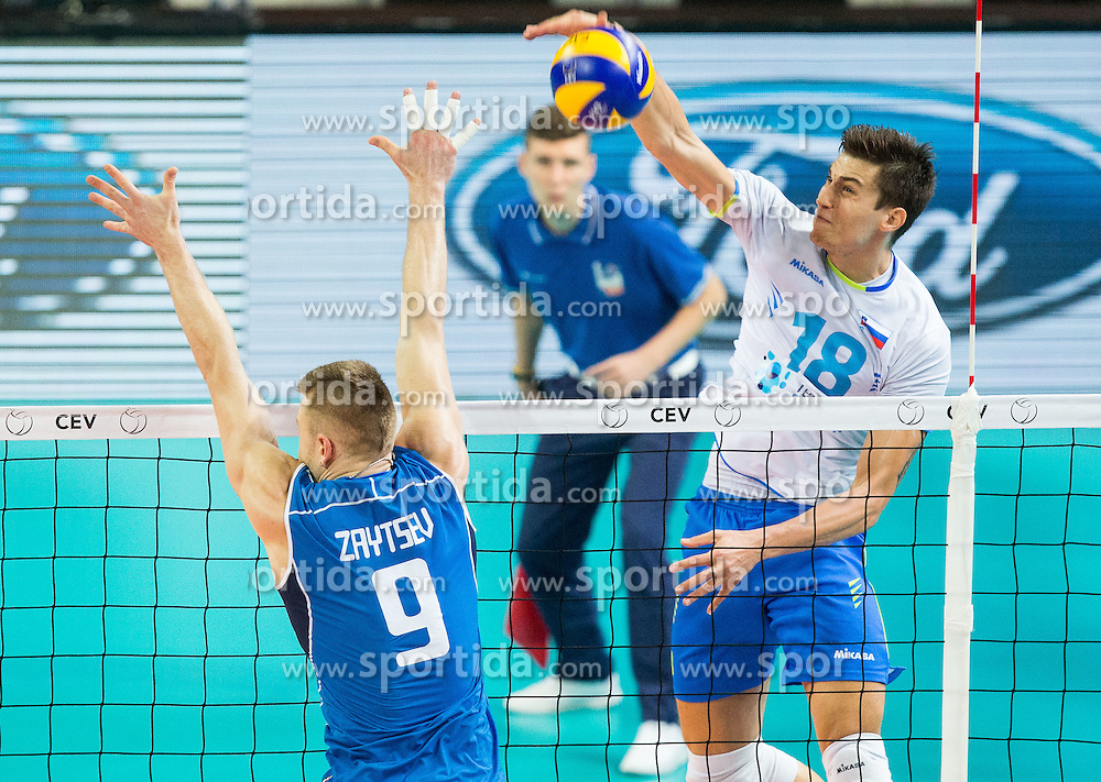 Ivan Zaytsev of Italy vs Klemen Cebulj #18 of Slovenia during volleyball match between National teams of Slovenia and Italy in 1st Semifinal of 2015 CEV Volleyball European Championship - Men, on October 17, 2015 in Arena Armeec, Sofia, Bulgaria. Photo by Vid Ponikvar / Sportida