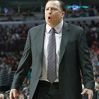 17 March 2012: Chicago Bulls head coach Tom Thibodeau reacts during the Chicago Bulls 89-80 victory over the Philadelphia Sixers at the United Center, Chicago, Illinois, USA.