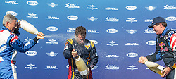 06.09.2015, Red Bull Ring, Spielberg, AUT, Red Bull Air Race, Spielberg, Siegerehrung, im Bild v.l.: Paul Bonhomme (GBR, 2. Platz), Matt Hall (AUS, 1. Platz) und Kirby Chambliss (USA, 3. Platz) // 2nd placed Paul Bonhomme of Great Britain (L), Winner Matt Hall of Australia (C) and 3rd placed Kirby Chambliss of the United States (R) celebrate on podiumk during the award ceremony of Red Bull Air Race Championships 2015 at the Red Bull Ring in Spielberg, Austria on 2015/09/06. EXPA Pictures © 2015, PhotoCredit: EXPA/ JFK