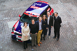 Britain's Princess Beatrice of York and her sister Princess Eugenie of York with Simon McDonald, British Ambassador to Germany Zalando UK Team Robert Gentz, CEO and Co-founder of Zalando Filip Dames, Chief Experience Officer Zalando Christoph Lütke Schelhowe, Regional Head of Western and Eastern Europe Zalando Alexander Ljung, Founder pose next to a BMW Mini decorated with the union jack during a promotional event in front of Berlin's Brandenburg Gate, January 17, 2013. Photo by Imago / i-Images...UK ONLY