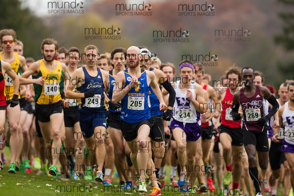 Ryan Cassidy of the Victoria Vikes runs in the men's  10K Run at the 2013 CIS Cross Country Championships in London Ontario, Saturday,  November 9, 2013.<br /> Mundo Sport Images/ Julie Robins