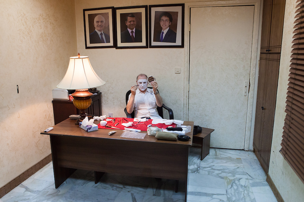 Spanish mime actor Carlos Martinez in a dressing room in Jordan, preparing for his first performance in the Middle-East.